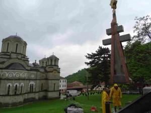 Фото: Митко Спироски, 21.05.2016, Во дворот на Лешочкиот манастир поставен е крст-паметник од Руската амбасада